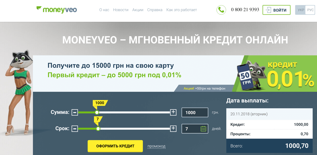 Манивео (Moneyveo): регистрация и вход в личный кабинет